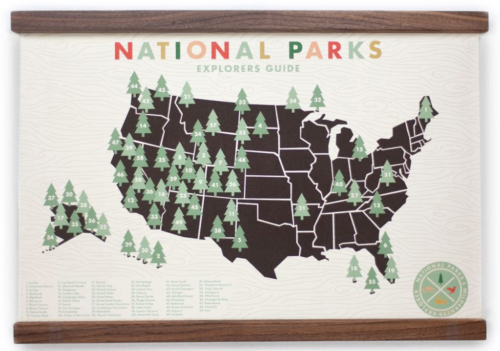 US National Park Map Print